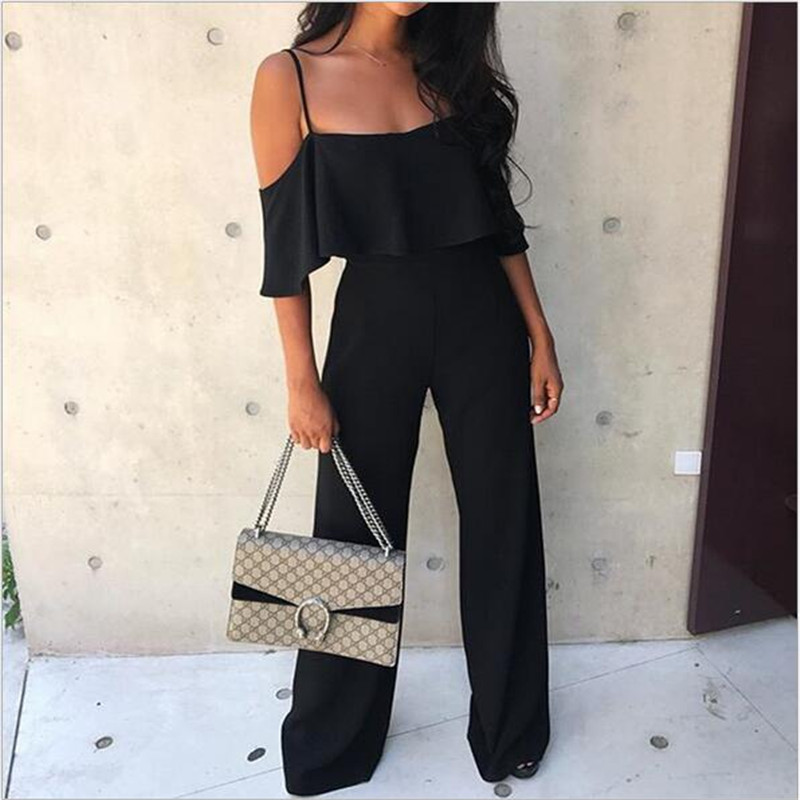 2018 Summer Sale Womens Fashion Jumpsuit Sling Ruffled Large Size Solid Color Straight Wide Leg Pants High Waist Thin Jumpsuit