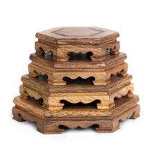 Wood Carving  Base Vase Teapot Flower Vases Crafts Decoration Jade Stone Wooden Base
