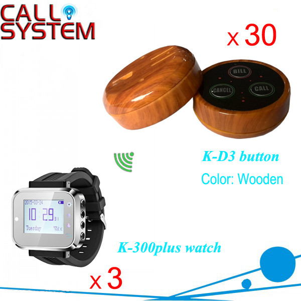 K-300plus+D3-Wooden 3+30 Wireless Table Buzzer Call Services