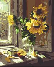 Windows Sunflowers 40x50cm Frameless Handpainted 1Set DIY Digital Oil Painting By Numbers Hand Painted Home Decoration
