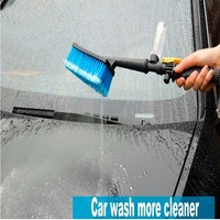 1pc Blue Car Wash Brush Auto Exterior Retractable Long Handle Water Flow Switch Foam Bottle Car