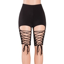 a4dfb73f751a2 Sexy d'été femmes Denim Noir Liens Sangle Jeans Courts Taille Haute Gland  Élastique Dentelle Up Bandage Shorty