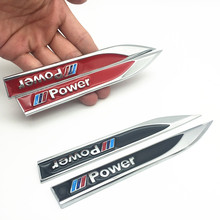 2pcs/set new M Power Emblems Badge 3D Car Sticker Side Metal Knife Type Fender For Bmw E60 E90 E91 F10 F15 F16 F30 M3 M5