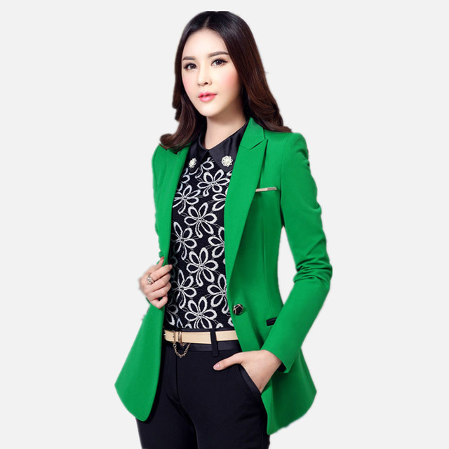 High Quality Women Blazers and Jackets Autumn Long-sleeved Office Work Suit  Outwear Black Green 53dfd6c1a4f1