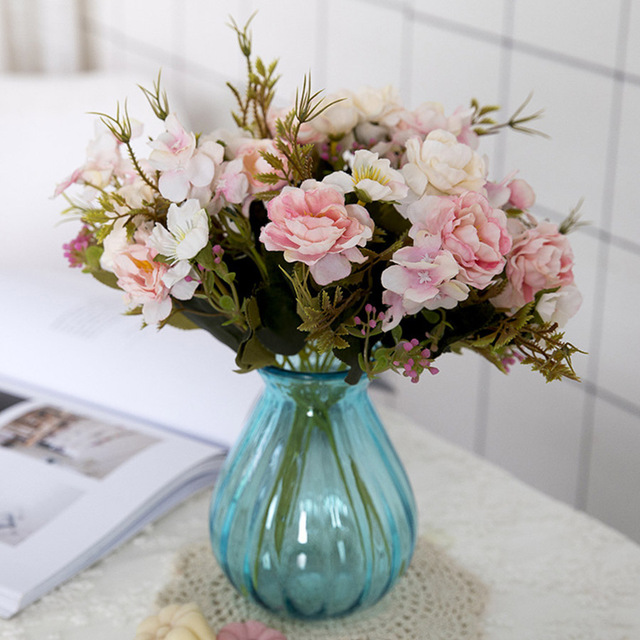 Assorted Silk Decorative Artificial Flowers Bouquet