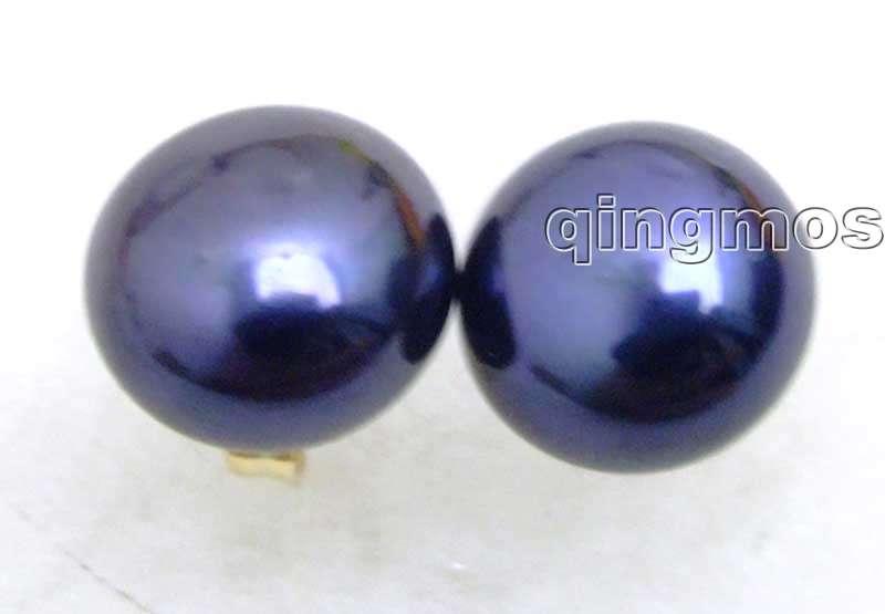 Grande boucle d'oreille en perles d'eau douce naturelles noires 7-8mm avec goujon en or massif-8010 vente en gros/au détail livraison gratuite