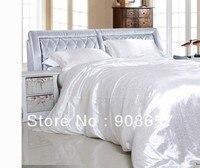 고급 모방 중국 실크 직물 침구 세트 흰색 침대 전체 퀸 사이즈 소녀 이불 커버 4/5 개 침대 홈 섬유