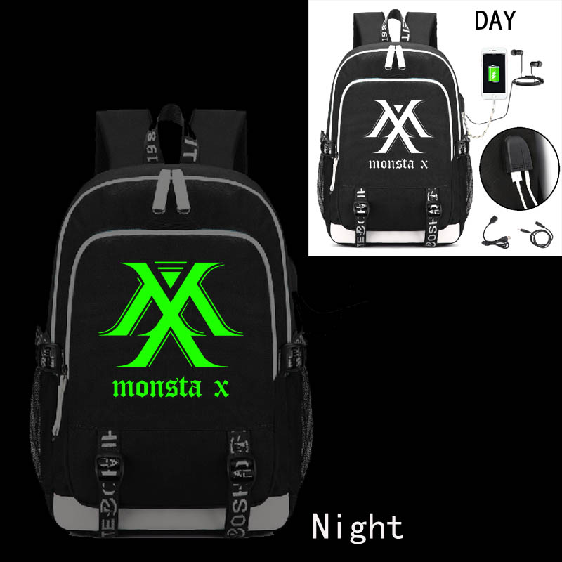 monsta x band Backpack with USB Charging Port and Lock &Headphone interface for College Student Work monsta x chiba
