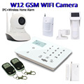 GSM Camera Alarm Wifi Camera IP Remote Monitoring SMS Alarm Wireless Security System GSM Panel PIR Pet Ourdoor Sensor W12B