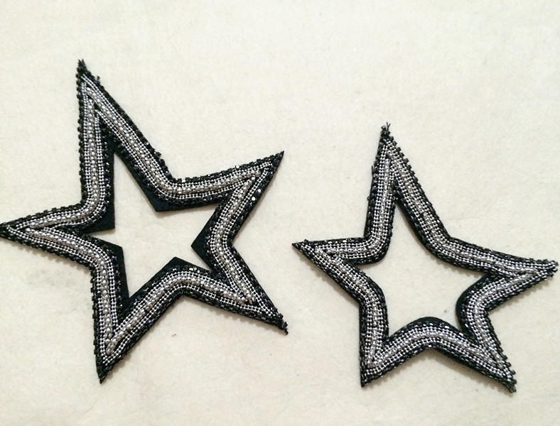 Star beaded vintage embroidered patch applique fashion patch clothing decoration patch
