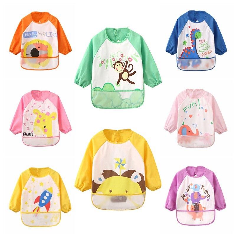 2018 Children Bib Burp Baby Todders Waterproof Long Sleeve Art Smock Bibs Apron Cartoon Soft Feeding Cloth Q1