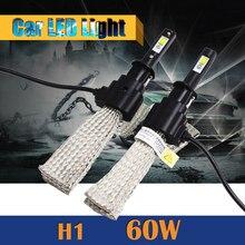1 Par H1 60 W Bombilla LED 6400LM 6500 K Conversión de Coches Faros de Niebla Luz de Circulación Diurna Blanco Frío DRL