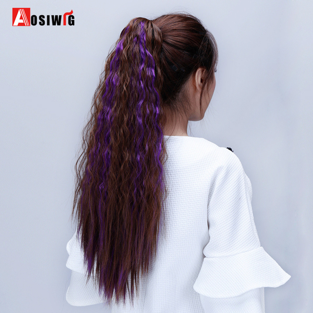 Aosiwig Long Claw Clip In Ponytail Kinky Curly Hair Extensions Heat