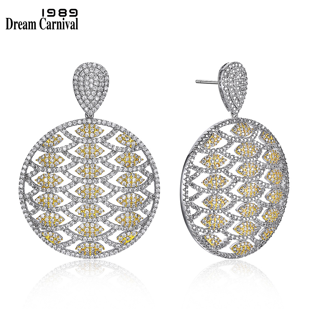 DreamCarnival 1989 Newest Big Size Round Dangles Luxury jewelry for Wedding Party 2 Tone Gold Color