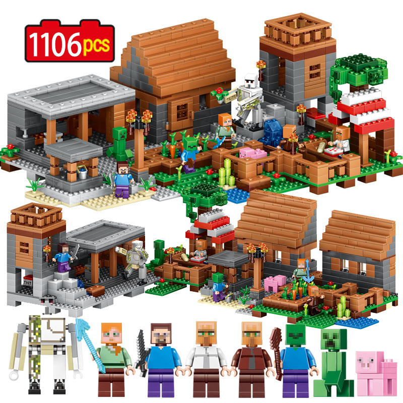 1106pcs My World Minecrafted Building Block My Village Bricks DIY Enlighten Gift Toys for children Compatible Legoe 2017 enlighten city bus building block sets bricks toys gift for children compatible with lepin