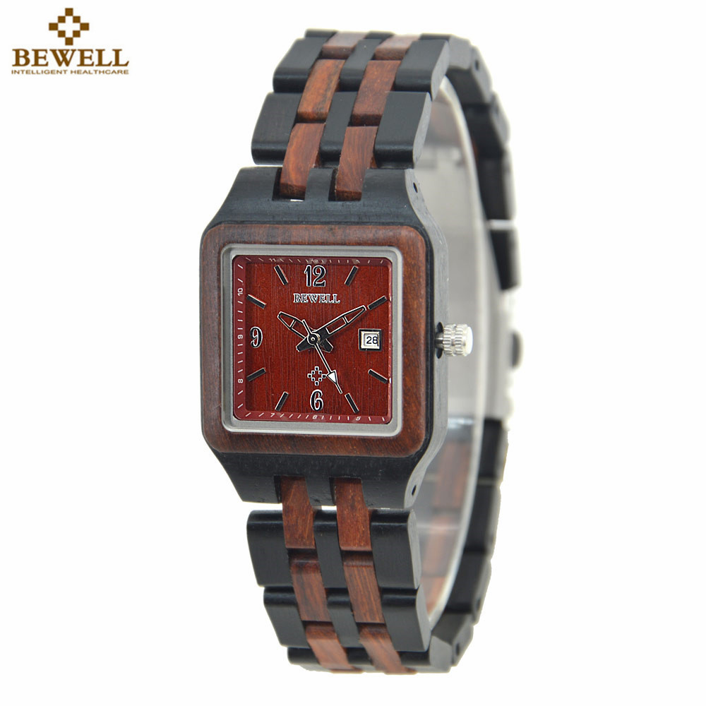 BEWELL Hot Sell Red Sandal Wood Watches vintage watches ladies Quartz Watch Women Casual Wood Wristwatches With Paper Box 130A bobobird bbm027 men s red sandal wood watches men cool quartz wristwatches with leather bands in gift box design