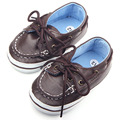 New Arrival Lace-Up Soft Leather Prewalker Moccasins Baby Boy Shoes 0-12M
