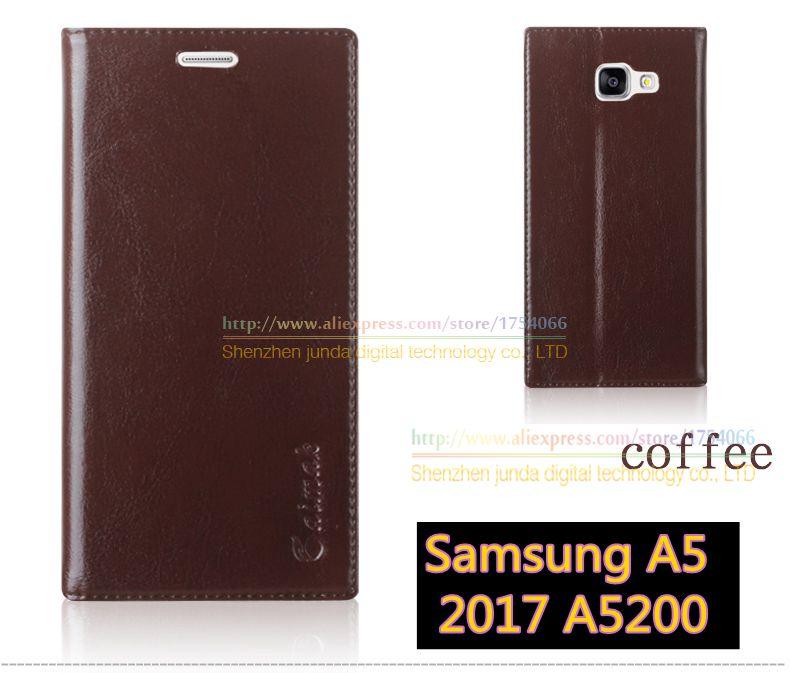 imágenes para Original aimak marca de calidad superior de cuero genuino soporte de libro de la moda estilo del teléfono flip case para samsung galaxy a5 2017 a5200 cubierta