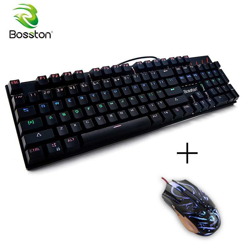 Bosston Gaming Mechanical Keyboard Anti-Ghosting 104 English Keys Led Backlight Keycaps for PC Laptop MK917 Blue Switch
