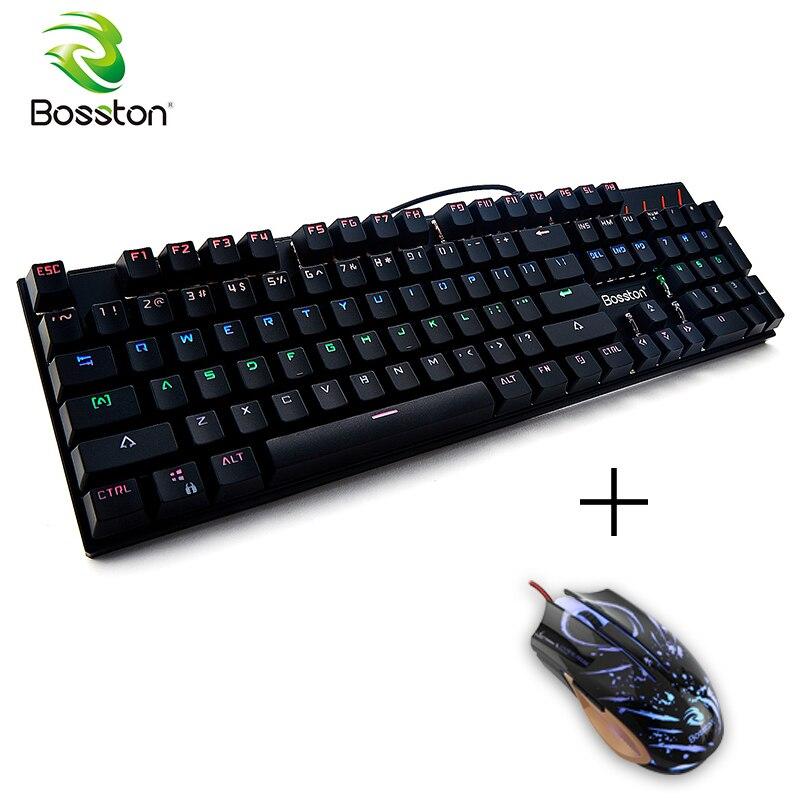 Bosston Gaming clavier mécanique Anti-image fantôme 104 touches anglaises Led rétro-éclairage touches pour PC ordinateur portable MK917 commutateur bleu