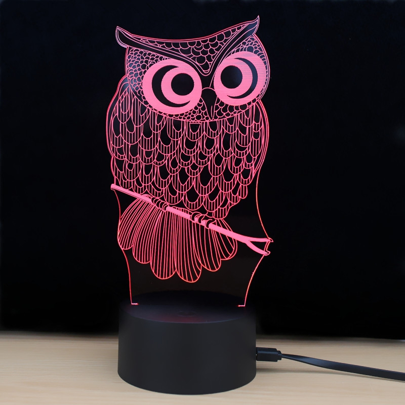 LED Night Light Shining Td182 7 Color Changing LED 3D Lamp Owl Touch Atmosphere Night Light image