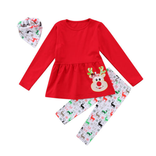 71f3dfee2c91e lovely toddler Kids Baby Girls Christmas Outfits Reindeer print long sleeve  red Dress Long legging Pants winter Clothes 3PCS Set-in Clothing Sets from  ...