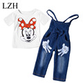 LZH 2017 Spring Girls Clothes Sets Cartoon Short Sleeves T-Shirt+Jeans Overalls 2pcs Outfit Suit Toddler Girls Children Clothing