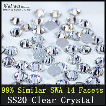 1440 pcs 99% Swa Similaires Machine Cut de 7big + 7 petit 14 Facettes SS20 Clair Cristal Non Hotfix Strass Pour DIY Dessins