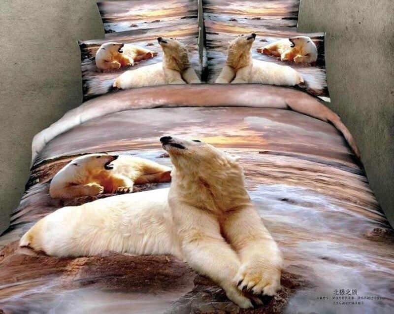 Ours loup tigre coton 3D Animal literie ensemble Cool 100% coton huile impression housse de couette ensemble drap de lit taie d'oreiller reine roi 4 pièces - 3