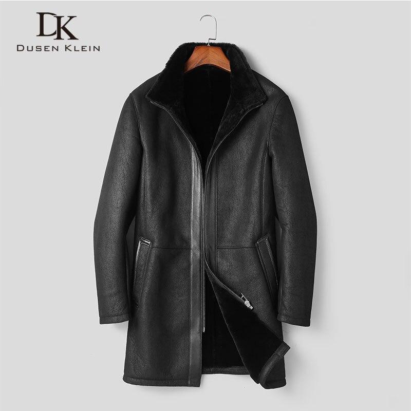 Men's Genuine Leather Jacket Sheepskin Winter Warm Wool Coat Black Shearling Outerwear 2018 New Designer Brand Luxury Fur E1716