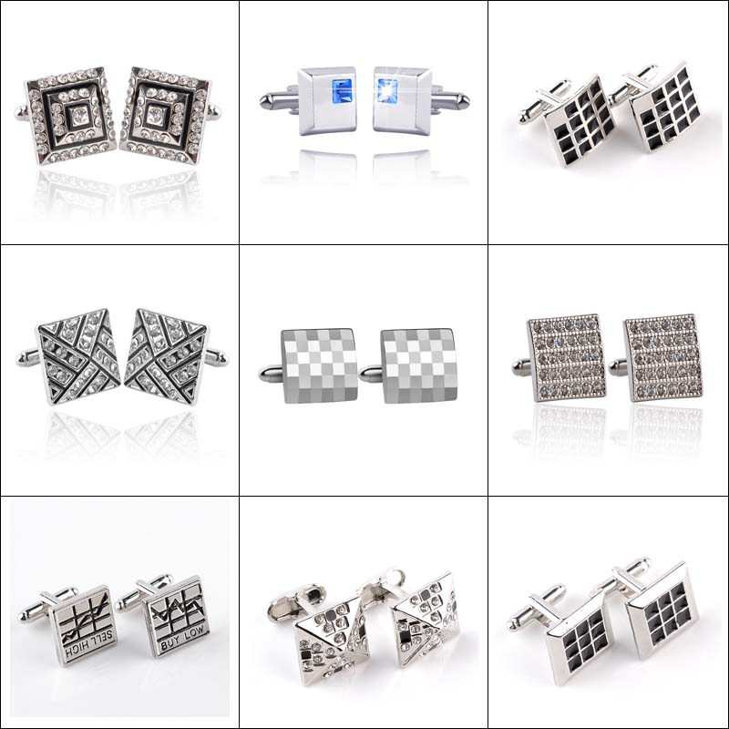 2017 Hot French Shirt Carved Men's Jewelry Fashion Personalized Wedding Groom Men's Cufflinks Link 9 Style Cufflinks For Men