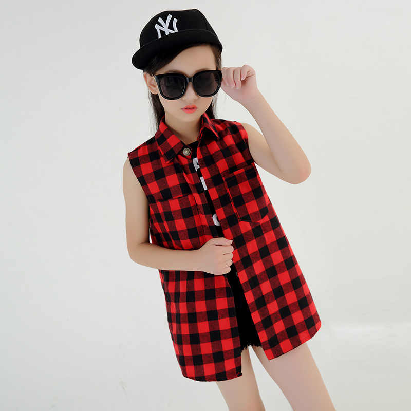 a4d2b03077ec ... Kids Girls Long Shirt Cotton Sleeveless Plaid Blouse For Girls Children  Boy Girl Hip Hop Dance ...