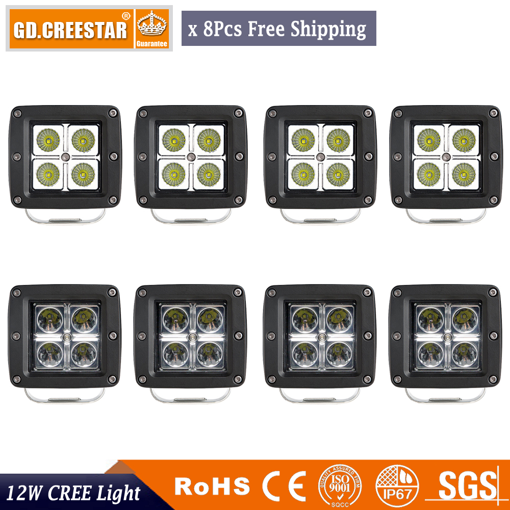 12v Ip67 12watts 3inch Square Led Flood Work Light 12v Ip67 Waterproof Led Offroad Driving 4wd Lights Pods For F150 Kawasaki Polaris X8pc In Light Bar Work