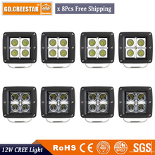 12Watts 3Inch square Led Flood Work Light 12V IP67 Waterproof Led Offroad Driving 4WD Lights Pods For F150 Kawasaki Polaris x8pc