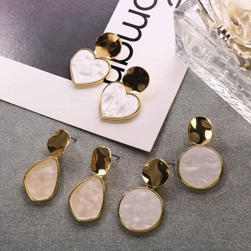 Gold Acrylic Earrings For Women 2019 New Summer Fashion Circle Round Drop Statement Wedding Jewelry Gifts