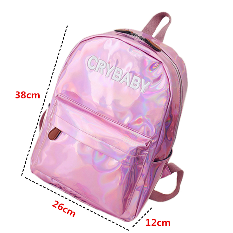 1494aea73b 2018 New women hologram backpack laser daypacks girl school bag female  silver pu leather holographic bags