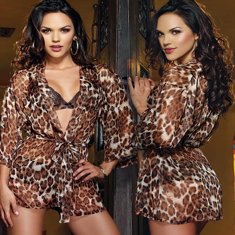 Hot Perspective Sexy Lingerie Leopard Lace Sexy Underwear Fun Pajamas Sexy Costumes Women Bathrobe Seduction Three Piece Suit ...