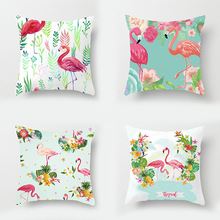 12 style 40x40cm Nordic Flamingo Tropical Leaf Cushion Cover Flower Throw Pillow Home Decoration Sofa Car  Decorative Pillowcase nordic style tropical plants flamingo green leaf cushion cover decoration for home sofa chair car pillow case friend kids gift