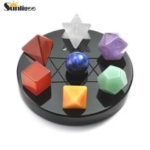 Sunligoo Mini 7 Chakra cristal plantonique solides géométrie noir obsidienne support polissage dégringolé Reiki guérison pierres naturelles ensemble
