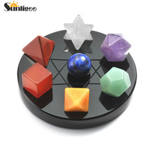 Sunligoo Mini 7 ЧАКРА КРИСТАЛЛ плантонические Твердые геометрические черные обсидиановые подставки полировка поврежденные восстанавливающие природные камни набор