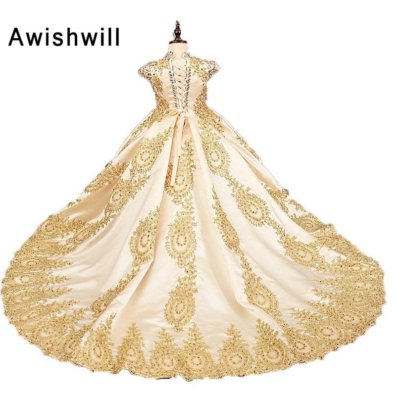 4a9f04a94b44 ... per Matrimoni Raso Del Merletto In Rilievo Dell abito di Sfera Della  Ragazza Del Partito Comunione Dress Pageant Abito Oro di Colore. 44 (1)  44-2 44-3 ...