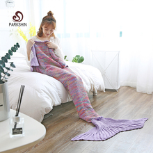 купить Parkshin Fashion Knitted Mermaid Tail Blanket Adult/Child Soft Mermaid Blanket Knit Cashmere-Like TV Sofa Blanket Wholesale дешево