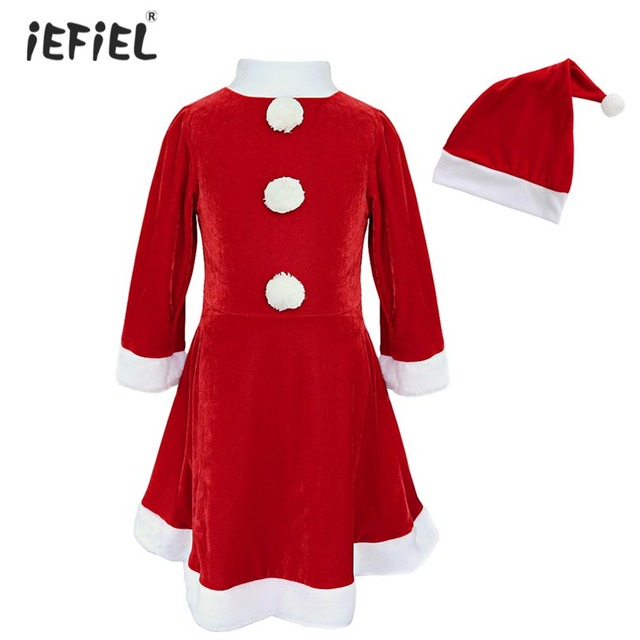 a537747f11b6 2018 Red Cute Girls Christmas Dress Costumes Santa Claus Costume For ...