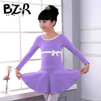 Bazzery Lycra Cotton Front Bowknot Short Long Sleeve Ballet Dance Dress Children Kids Girls Gymnastics Dance