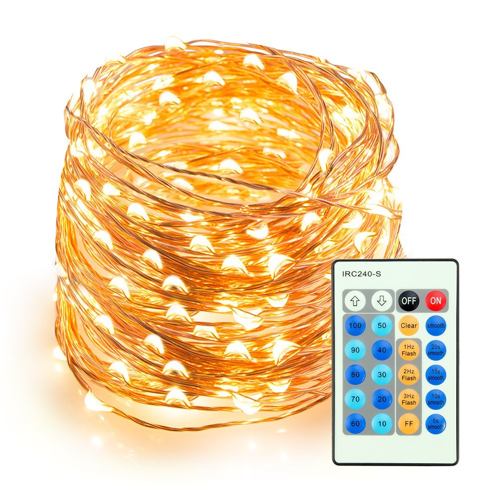 Copper Wire Warm White Remote Control Outdoor Dimmable LED String Lights for Bedroom Patio Party ...