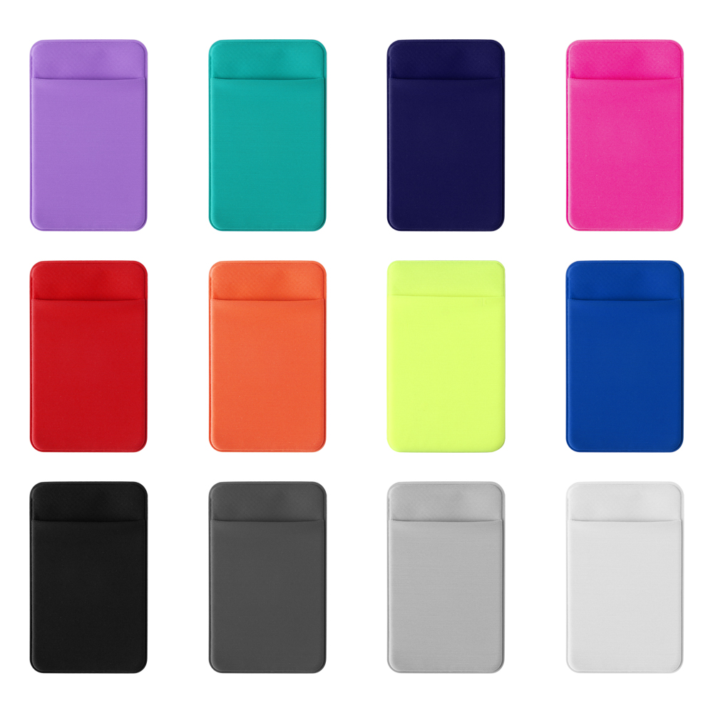 1Pc Unisex Fashion Elastic Mobile Phone Wallet Cell Phone Card Holder Case Lycra Adhesive Sticker Pocket Credit ID Card Holder