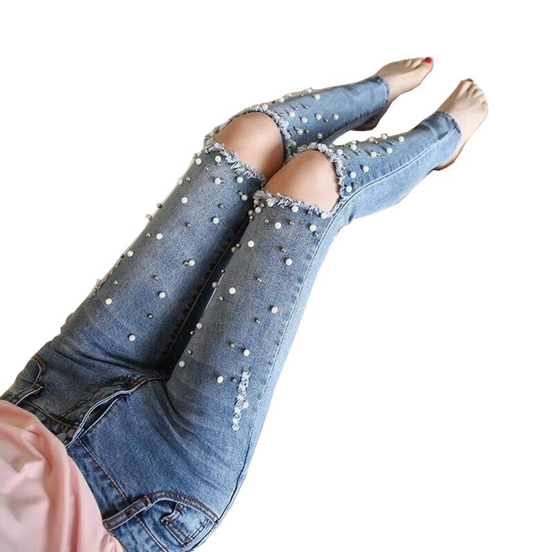 2017 new Spring Female Diamond beaded jeans fashion hole Slim skinny denim pants s675