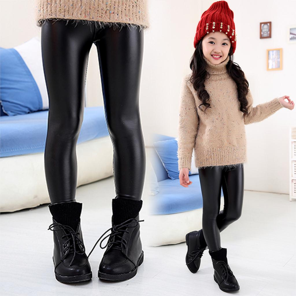 Baby Kids Girls Cute Black Stretchy Faux Leather Skinny Leggings Pants Trousers 2 -7367