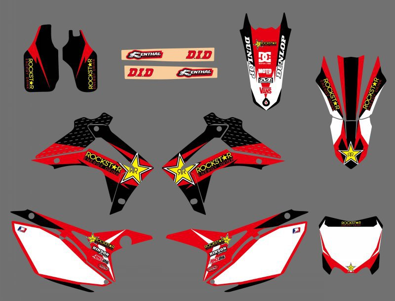 Rockstar TEAM GRAPHICS DECALS STICKERS FOR Honda CRF250R CRF250 2014-2018 CRRF450R CRF450 2013-2016 CRF 250 250R 450 450R for honda crf 250r 450r 2004 2006 crf 250x 450x 2004 2015 red motorcycle dirt bike off road cnc pivot brake clutch lever