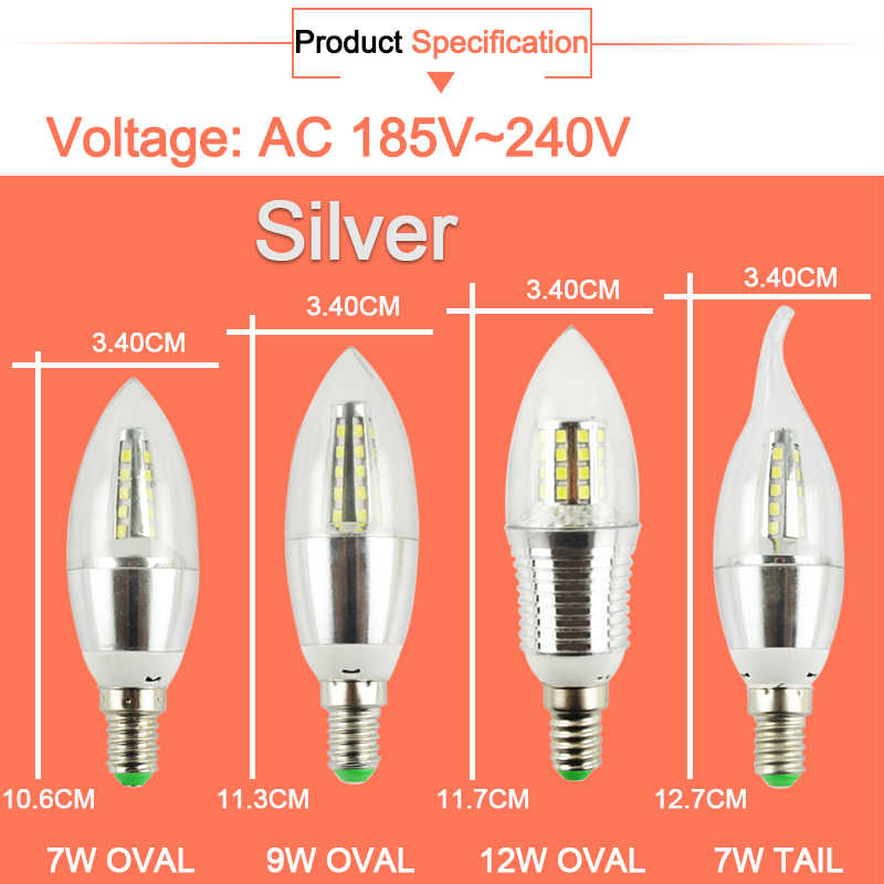 10 قطعة LED لمبة E14 الألومنيوم الذهبي ضوء AC220V Led مصباح كول الدافئة الأبيض LED مصباح بالشمع 9 واط 12 واط Lampada Bombillas Lumiere Lampara